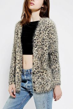 Fuzzy leopard cardigan from Sparkle & Fade. #prettytough #urbanoutfitters