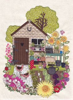 Unframed print of original textile artwork My Garden. Size: A4 (210x297mm / 8.26x11.7inch)  The image is of a garden shed and vegetable patch / allotment with brightly coloured chickens and flowers in pinks and yellow and green.  The original, one off, intricate artwork was made by applique, cutting pieces of fabric and stitching them together on a sewing machine with a special attachment that allows me to draw with the thread - Free motion machine embroidery.  The print is excelle...