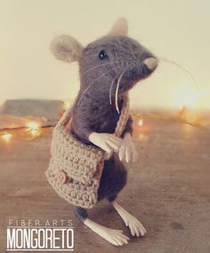 Needle Felted Rat with Haversack by Mongoreto on Etsy