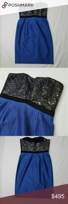 Selling this KAY UNGER Blue Black Rose Strapless Dress NWOT on Poshmark! My username is: dovesofashtrees. #shopmycloset #poshmark #fashion #shopping #style #forsale #Kay Unger #Dresses & Skirts