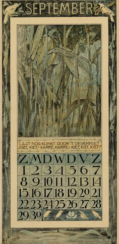 Bird Calendar: September 1907, by Theodoor van Hoytema (1863–1917). Published by Tresling and Co