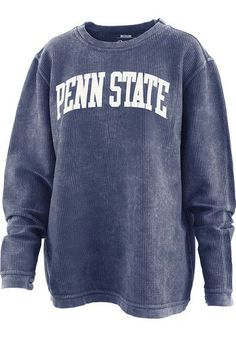 Penn State Nittany Lions Womens Navy Blue Comfy Cord Crew Sweatshirt - 22641440 - Whether you're a Penn State student, alumni, pet, or fan, your Nittany Lions spirit is something - College Shirts, College Outfits, College Apparel, Penn State Clothes, Tailgate Outfit, Nittany Lion, Spirit Wear, Sorority Shirts, Crew Sweatshirts