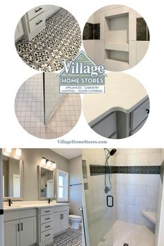 One bathroom with many farmhouse tiles used. Painted farmhouse tile, cabinetry, lighting, mirrors, and countertops by Village Home Stores for Hazelwood Homes. | villagehomestores.com Painting Bathroom Tiles, Gray Island, Kitchen Aid Appliances, Vinyl Plank Flooring, Hazelwood Home, At Home Store, Bathroom Inspiration, Countertops, Mirrors