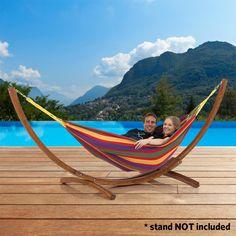 Double Brazillian Hammock - Sturdy Fabric Construction, 200kg Weight Capacity, Comfortable - Multi-coloured