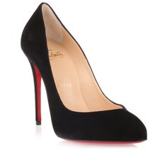 Christian Louboutin Breche 100 Black Suede Pump ($570) ❤ liked on Polyvore featuring shoes, pumps, black, pointy toe pumps, black pointed toe pumps, high heel stilettos, black high heel pumps and black high heel shoes