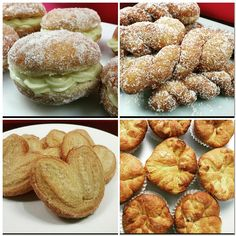 Sugar dusted Cream buns, Coconut Koeksisters, Palmiers and Kouign Amann Cream Bun, Kouign Amann, Confectionery, Buns, Sweet Treats, Muffin, Goodies, Coconut, Cupcakes