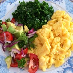 Breakfast with scrambled egg's, avocado salad and few seconds fried kale!!