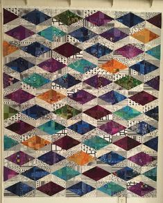 2 tri-recs put together Here are the three scrap slab (trying saying THAT three times fast) quilts: Fruit Loops, Nov-Dec 2016 Treasure Trove, Dec 2016 S. Batik Quilts, Scrappy Quilts, Easy Quilts, Quilting Fabric, Quilt Block Patterns, Quilt Blocks, Japanese Quilt Patterns, Loom Patterns, Triangles
