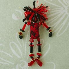 Beaded Brooch Beoples Pin, Wearable Doll Art Jewlery, Red Black Floral