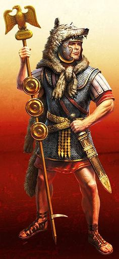 This Roman standard bearer is wearing a wolf headdress. As he leads his brothers in arms into battle, the Roman legions carry the honor of their ancestry - the wolf that saved their founders - into battle. Ancient Rome, Ancient History, Roman Latin, Old Warrior, Roman Armor, Romulus And Remus, Art Roman, Rome Antique, Roman Warriors