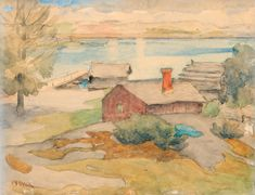 Cottage in the Archipelago by Maria Wiik Winslow Homer, Andrew Wyeth, Edward Hopper, Singer Sargent, Archipelago, Cottage, Watercolor, Wall Art, Pastel