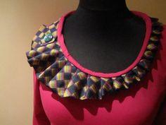 repurposed necktie necklace | NECKTIE COLLAR SHIRT Harlequin by GarageCoutureClothes on Etsy