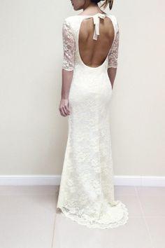 $325 Hippie Boho Wedding Lace Dress, Custom Made Gown, Bohemian Wedding Dress - IVORY