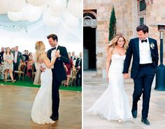 "Lauren Conrad's wedding. Once rose gold rings were exchanged (Lauren's was decked out with diamonds), the couple celebrated with their fam + friends under a balloon-filled tent. The theme? A fitting ""rustic-chic"" that featured personal touches like vintage handkerchiefs and homemade apple pie — DIYs that just took Pinterest-worthy weddings to the next level."
