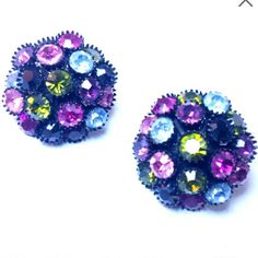 Check out this item in my Etsy shop https://www.etsy.com/listing/543788499/multi-color-rhinestone-clip-on-earrings