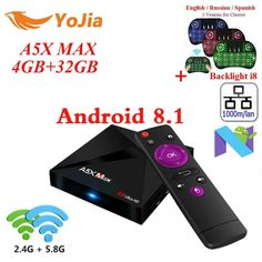 RK3328 A5X Max Android 8.1 TV Box 4G/16G 32GB 2.4G/5G Dual WiFi 1000M Optional BT4.1 A5X Max + Plus set top box Media Player  Price: $ 43.99 & FREE Shipping   #computers #shopping #electronics #home #garden #LED #mobiles