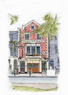 """The Cricketers"" Richmond Upon Thames - Sketch - John Edwards"