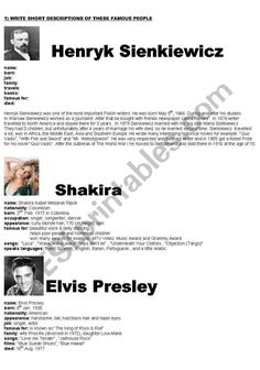 WRITING A SHORT BIOGRAPHY OF FAMOUS PEOPLE - part 3 Vocabulary Games, Grammar And Vocabulary, Teacher Notes, Best Teacher, English For Students, Esl Lesson Plans, Esl Lessons, Vocabulary Worksheets, Student Motivation
