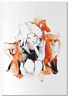 Foxy als Premium Poster von Ina Stanimirova Art And Illustration, Ink Illustrations, Character Illustration, Watercolor Illustration, Art Mural, Fox Drawing, Woman Painting, Watercolor And Ink, Foxes
