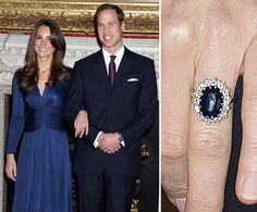 Prince William presented Kate Middleton with the same ring worn by his mother, Princess Diana. Kate Middleton wore the 18-carat blue sapphire set in white gold when the pair announced the news of their engagement in November 2010.