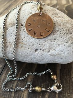 WANDER brass circle pendant necklace by dancingbluestone on Etsy