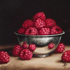 "Daily Paintworks - ""Raspberries in Silver bowl"" by Jane Palmer"
