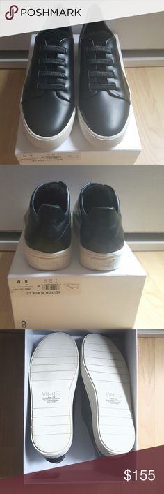 Brand New with Tags and Box Vince Bolton Sneakers Brand New with Tags and Box Vince Bolton Black  Leather Laceless Sneakers with Shearling Fur, Vince dustbag included Size 8 Women's Vince Shoes Sneakers