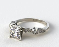 """Platinum Antique Bezel and Pave Set Engagement Ring Shown here with a Princess-Cut diamond, GORGEOUS vintage-style design with 0.21 carats of diamond in the setting, yet it still does not look too """"flashy"""" LOVE!"""