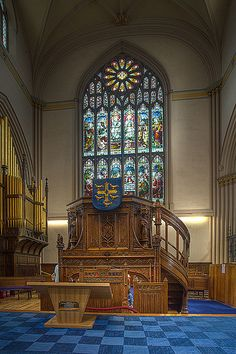 Pulpit, Dunfermline Abbey, Fife, Scotland. Under this pulpit lies the final resting place of King Robert the !st of Scotland, known as Robert the Br...