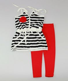 This Black & White Stripe Tunic & Red Leggings - Toddler & Girls is perfect! #zulilyfinds