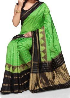 ikat mehindi green color saree