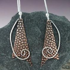 Brand New!! Mixed Metal Earrings Embossed Copper and by MetalworksJewelry, $35.00 by jaime