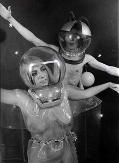 retro-futuristic, science fiction – space nudists walk into a bar – retro Grunge, Steampunk, Space Fashion, Space Girl, Major Tom, Space Race, Comic, Illustration, Science Fiction Art