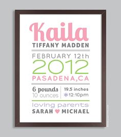 Custom Birth Print 11x14 Nursery Wall Art Print (baby name and birth stats) pink & green on Etsy, $36.00