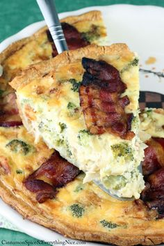 Chicken, broccoli, cheddar, bacon and eggs quiche in a flaky pastry crust