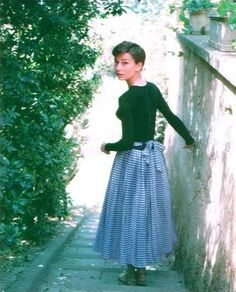 Audrey Hepburn at La Vigna, the farmhouse in Italy, 1955 while filming 'War and Peace'.