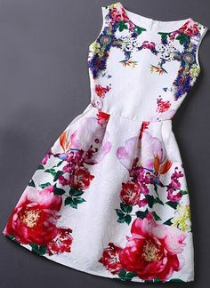 Vintage Jacquard Printed Sleeveless Vest Dress