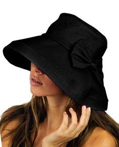 b0e566f4855 Women s Summer Packable Bow Accent Foldable Brim Beach Sun Hat - Black -  CF12CU9TJ25 - Hats