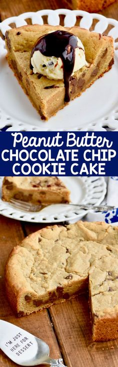 This Peanut Butter Chocolate Chip Cookie Cake is such a perfectly delicious simple dessert!