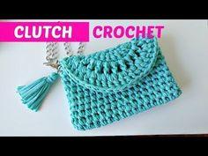 Crochet clutch or easy handbag Bag Crochet, Crochet Clutch, Crochet World, Tunisian Crochet, Crochet Handbags, Crochet Purses, Crochet Slippers, Crochet Crafts, Crochet Projects
