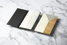 Brand identity and inlaid menu covers designed by Bibliothèque for Monica Galetti's new London restaurant Mere
