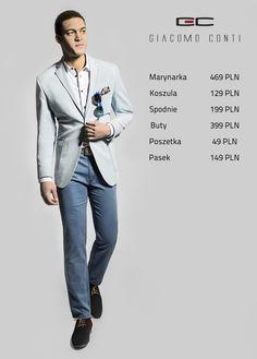 Stylizacja Giacomo Conti: błękitna marynarka ANTONIO 15/38 SM, koszula MICHELE 14/03/04, spodnie 15/17 T, buty 2644