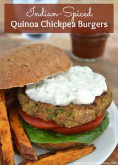 Indian-Spiced Quinoa Chickpea Burgers | Hello Little Home #VeggieBurger #vegetarian