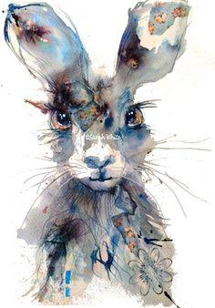 Original Indigo Hare by ArtbySarahWhite on Etsy Watercolor Animals, Watercolor Paintings, Watercolours, Ink Paintings, Animal Paintings, Animal Drawings, Lapin Art, Art Fantaisiste, Art Mignon