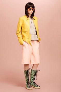 3.1 Philip Lim Resort 2015 | pink tan yellow and green, long shorts