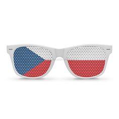 91e5cb5223522 Paires de lunettes de soleil type Wayfarer au couleur du drapeau de la  République Tchèque !