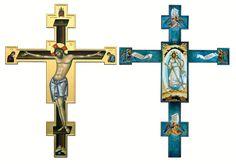 Crucifixion / Cruce (fata-verso), Catedrala Mitropolitana, Iasi - Ierom. Mihail Art Icon, Orthodox Icons, Book Projects, Sacred Art, Crucifix, Symbols, Ideas, Alpha Omega Tattoo, Angels