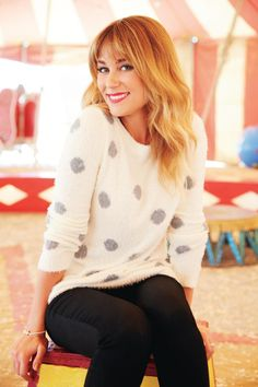 Lauren Conrad in a polka dot sweater {fall fashion}