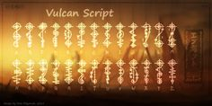 Vulcan Script Font by NickPolyarush alphabet language painting drawing resource tool how to tutorial instructions | Create your own roleplaying game material w/ RPG Bard: www.rpgbard.com | Writing inspiration for Dungeons and Dragons DND D&D Pathfinder PFRPG Warhammer 40k Star Wars Shadowrun Call of Cthulhu Lord of the Rings LoTR + d20 fantasy science fiction scifi horror design | Not Trusty Sword art: click artwork for source