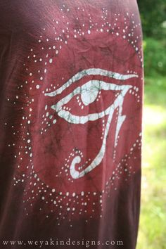 Eye of Horus ORGANIC Batik TShirt 2X. Red and White by weyakin, $46.00